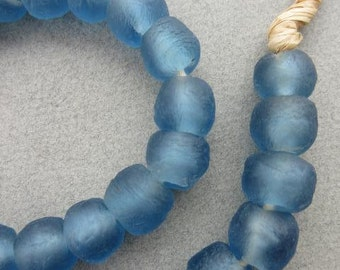 Cerulean Blue Ghana Glass Beads (14x13mm) [66221]