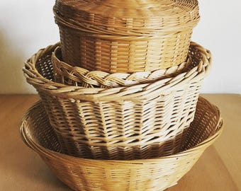 Retro wicker basket collection in a variety of shapes & sizes including lidded cutie for Boho storage / organization or just decoration!