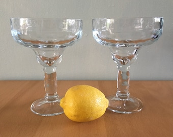 Fun vintage pair of 2 heavy & clear margarita glasses - fiesta this summer in your 80s style tropical Old Florida home!