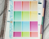 Ombre To Do Boxes SHADOWED Stickers! 1 punched sheet, for your Erin Condren Life Planner, Plum Planner,  Filoflax, calendar