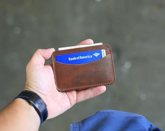 Horizontal Leather Card Wallet, Naturally Tanned Leather Card Case, Chestnut Leather Card Holder, Horween Leather Minimal Wallet