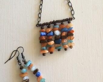 Boho Necklace, Stone Necklace, Orange, Turquoise, Knotted Necklace, Bohemian Necklace, Stone Jewelry, Hippie Necklace, Women Gift, Rustic Ne