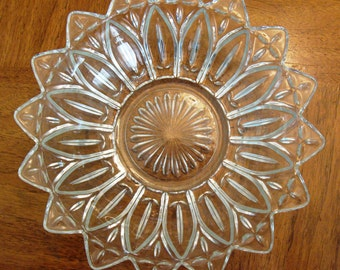 """Vintage 10"""" Federal Clear Glass Petal Bowl or Candy Dish"""