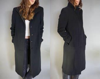 Vtg Minimalist Black Wool Long Duster Jacket Coat || 90s minimalism || Women's Small