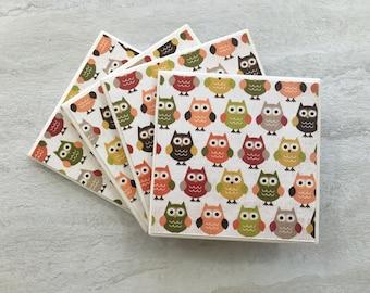 Owl Coasters, Owl Decor, Owl Gift, Owls, Tile Coasters, Ceramic Coasters, Coaster Set, Hostess Gift, Housewarming Gift, Coasters