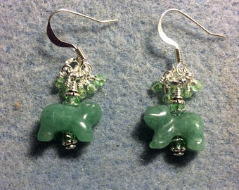 Small green aventurine gemstone bear bead earrings adorned with tiny dangling light green Chinese crystal beads.