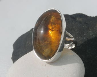 Genuine Amber Ring In Sterling Silver 925, Dominican Amber
