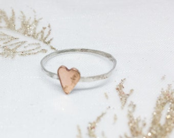 Heart stacking ring, stackable sterling silver and rose gold filled ring, gift for her, gift for wife, sister present, christmas idea