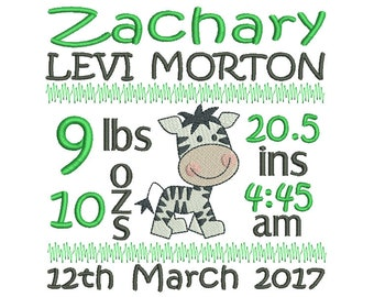Birth Announcement Template Embroidery, Instant Download, Subway Art Boy Birth Template Machine Embroidery, AM/PM, Design no: ST509-31