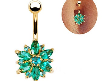 Belly Button Ring Green Flower