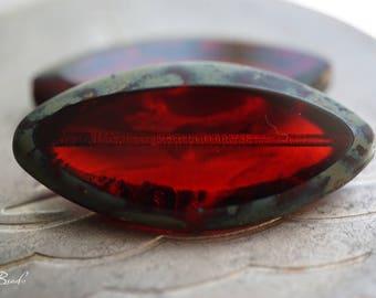 Fiery Red, Oval Beads, Czech Beads, N1844