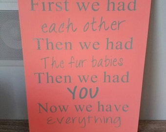 Baby room decor, wood sign, fur baby, baby shower gift,