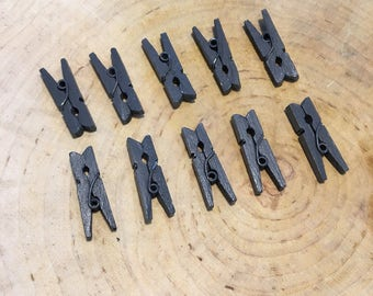 Lot of Mini clothespins grey dark