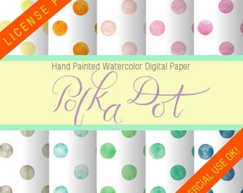 Digital Paper/Polka Dot Hand Painted Watercolor Digital Paper/License Free/Commercial Use OK