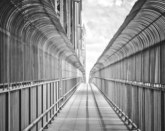 Montreal Jacques-Cartier Bridge Print, Black and white photography, Urban Bridge Print, Urban, Vanishing point, minimal picture
