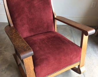 Restored and Newly Upholstered Antique Oak Rocking Chair- Real Leather