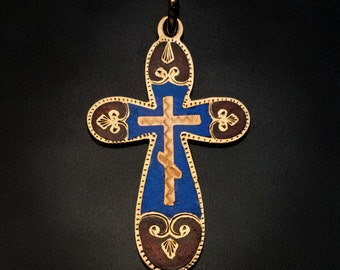 Antique Russian Champleve Enamel Gold Cross Pendant