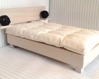 "1:6 Play Scale Modern Wooden Scandi Bed + Futon Mattress for 11"" BJD Barbie Poppy Parker Fashion Royalty Dolls Scandinavian inspired design"