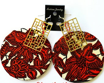 "Boucles D'Oreilles ""AfricanRoots"" in RED ©CloEthniK"