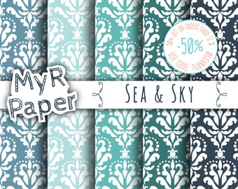 "SALE 50% Damask Digital Paper: ""Sea and Sky"" Pack of Backgrounds in Blue, Green, Light Blue, Teal & Turquoise - digital paper sale"