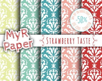 "SALE 50% Damask Digital Paper: ""Strawberry Taste"" Digital Paper Pack in Blue, Red, Yellow, Green and Pink  - OFF SALE - digital paper sale"