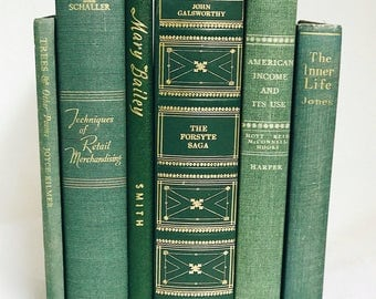Green Book Collection, Interior Book Decor, Wedding Centerpiece, Used Books, Vintage Book Set, Home Decoration, Antique Books