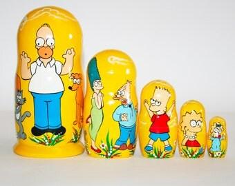 Nesting doll Simpsons for kids signed matryoshka russian dolls