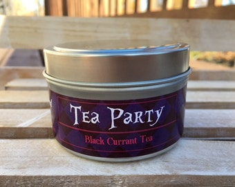 Tea Party, 6oz Soy Candle Tin, Tea Candle, Bookish Candle, Gift for Tea Drinker, Bookish, Black Currant