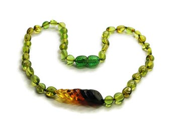 Baby Necklace Amber Girl Necklace Green Caribbean Amber Teething Necklace