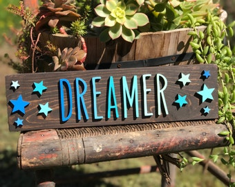 Dreamer/Nursery Decor/Nursery/Inspirational/Dream/Stars/Lasercut