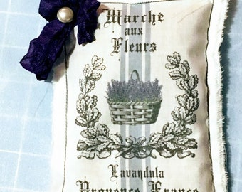 French Dried Lavender Sachet/Paris Marche de Fleurs/Basket of Lavender /Wedding/Bridal Showe/Muslin/Birthday/Tea Party/Housewarming