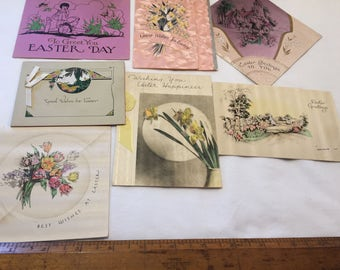 Vintage Easter cards - lot of 8 - stand up easter card - 1930's vintage ephemera - scrapbooking ephemera - easter greeting cards - decorate