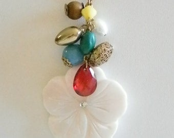 Gold Tone Chain White Jade Stone Floral Pendant With Dangling Baubles Necklace