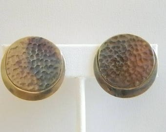 Bronze Copper Brass Hammered Look Clip Earrings