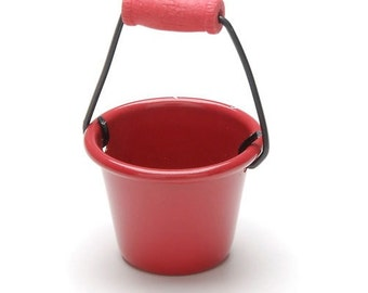 Miniature Metal Red Pail,Fairy Garden, Container Garden,Dollhouse, Diorama,Model Railroad  Combine with our other items