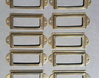 """10 antique vintage file cardholder label holders 3 1/2"""" x 1 5/16"""" #F4"""