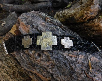 The Mummy's Bundle jet crystal beaded choker with three huge crosses.  Gothic mystic beauty made by Doug and Mary Hancock, rare wonderful.
