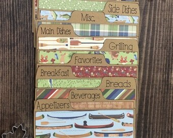 "4.5"" x 6"" Recipe Card Dividers, Outdoors, Fishing, Canoe, Cabin"