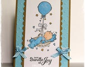 Handmade Baby Card, Religious Baby Card, Christian Baby Card, New Baby Card, Baby Girl Card, OOAK Baby Card, Embossed Card, Copic Colored