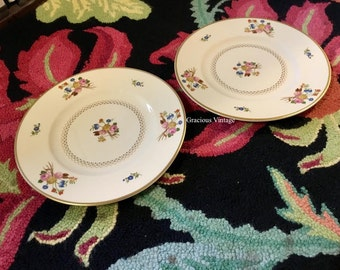 Set Of 2 Vintage Syracuse Floral Coventry Old Ivory Plates- Free Shipping