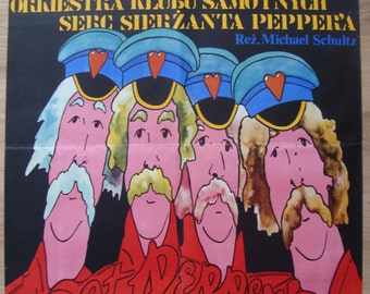 """Beatles, Sgt. Pepper's Lonely Hearts Club Band, Bee Gees, movie poster, 26x38"""", Polish poster, by Pagowski, vintage poster, music art, UK"""