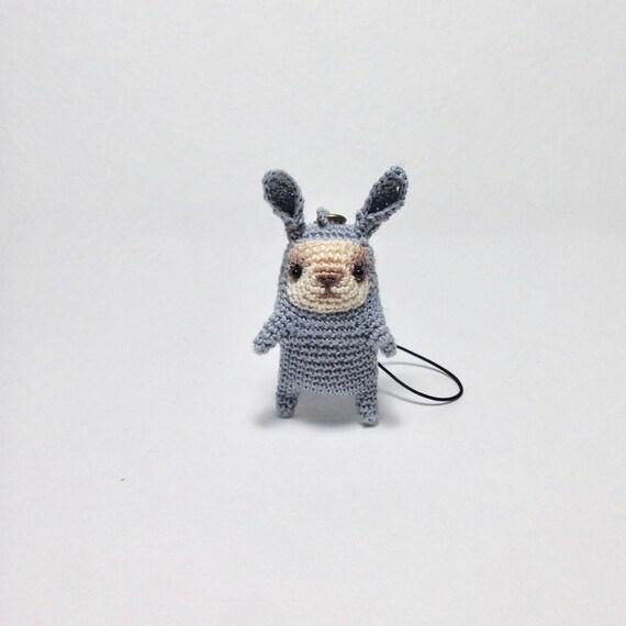 Amigurumi Bunny Keychain : Crochet blue bunny keychain amigurumi bunny bag charm tiny