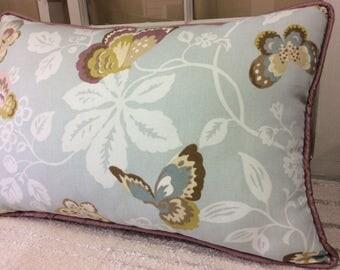 Purple and Blue Butterfly Pillow Cover W/Zipper, 14x24, Little Girls pillow, Girls Bedding