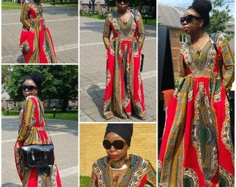 Red Dashiki Cotton, African Prom, Ankara African Fabric Kitenge Print Maxi Dress Size 14UK/10USA/42 READY To Ship,44Eu
