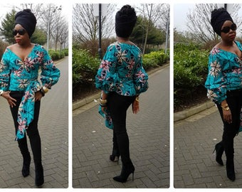 Towani Creations Ankara African Fabric Wrap Top With Exaggerated Ruffle Puff Sleeves  Size S/8-10UK/4-6USA