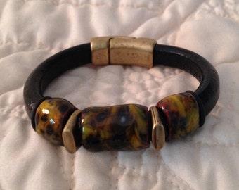 Black Regaliz Licorice Leather Bracelet with Antique Brass Accents