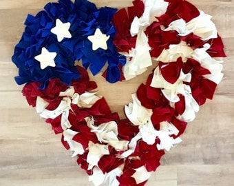 Heart American Flag Wreath