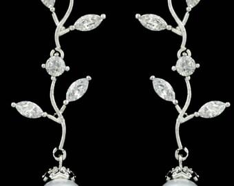 New Bridal Leaf CZ A+++ Crystal Chandelier With Pearl Drop 2 '' Pierced Earring