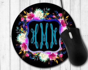 Monogram Mouse Pad, Personalized Mouse Pad, Floral Mouse Pad, Desk Accessories, Custom Mouse Pad, Watercolor Flowers and Stripes, Flowers