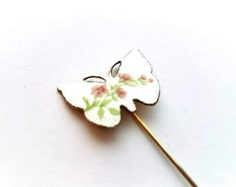 Vintage Gold with Gulloiche Enamel and Hand Painted Flowers Stick Pin